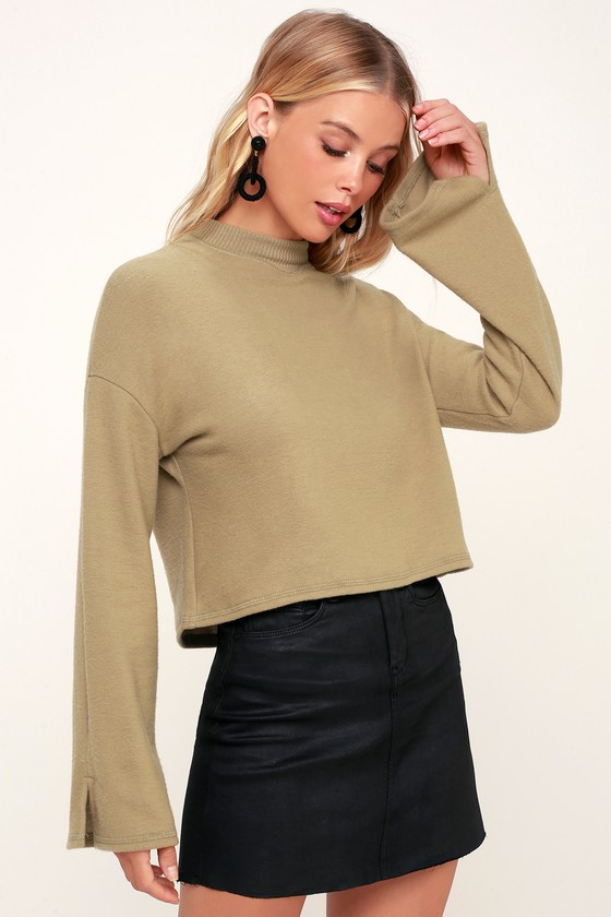ddfb08a4f4f Project Social T - Khaki Top - Sweater Top - Cropped Top - Top