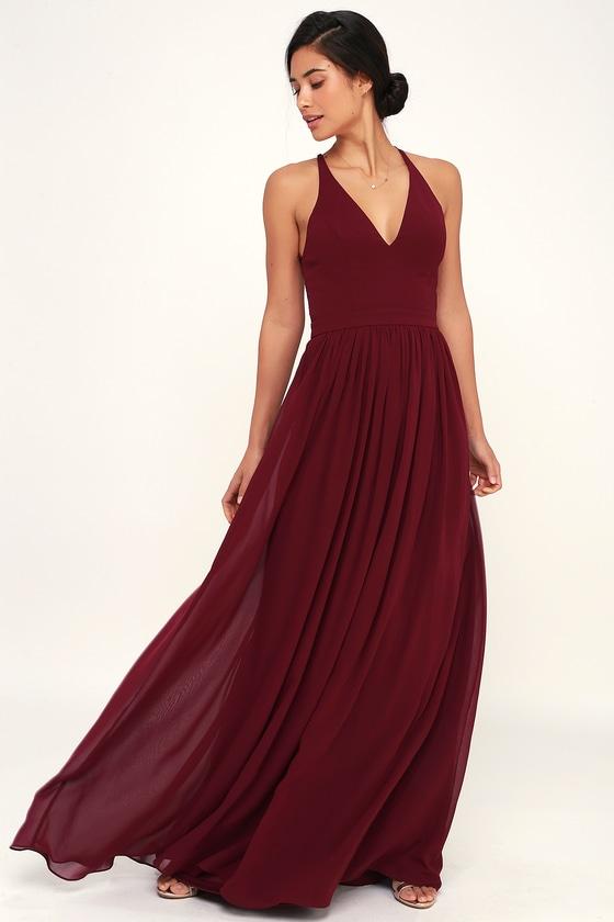 e565b03b Stunning Lace-Back Maxi Dress - Burgundy Dress - Maxi Dress
