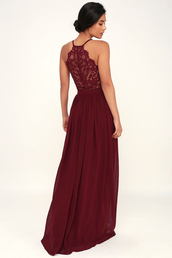 Love Spell Burgundy Lace Back Maxi Dress