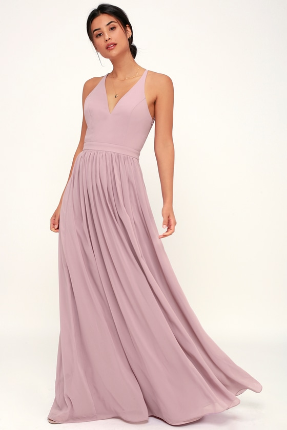 2ed3b768968 Stunning Lace-Back Maxi Dress - Dusty Lavender Dress - Maxi Dress