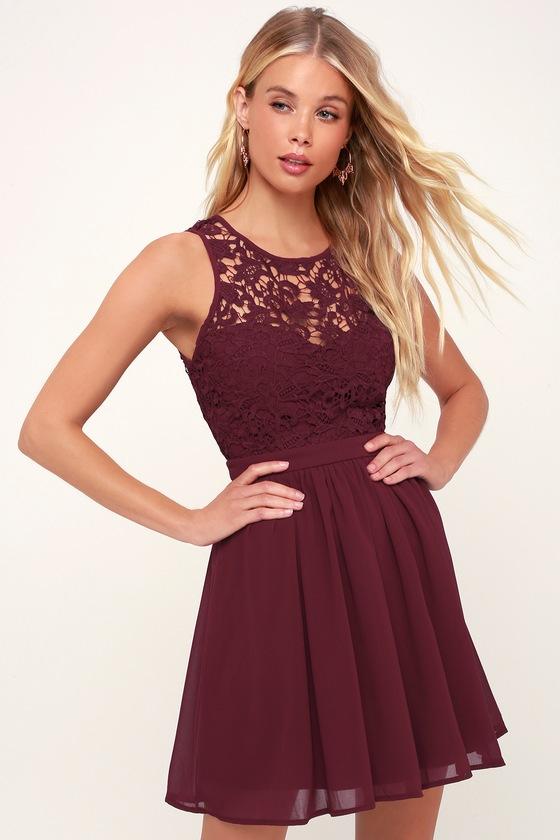 5fc4b070a1 Lovely Burgundy Dress - Lace Dress - Burgundy Skater Dress