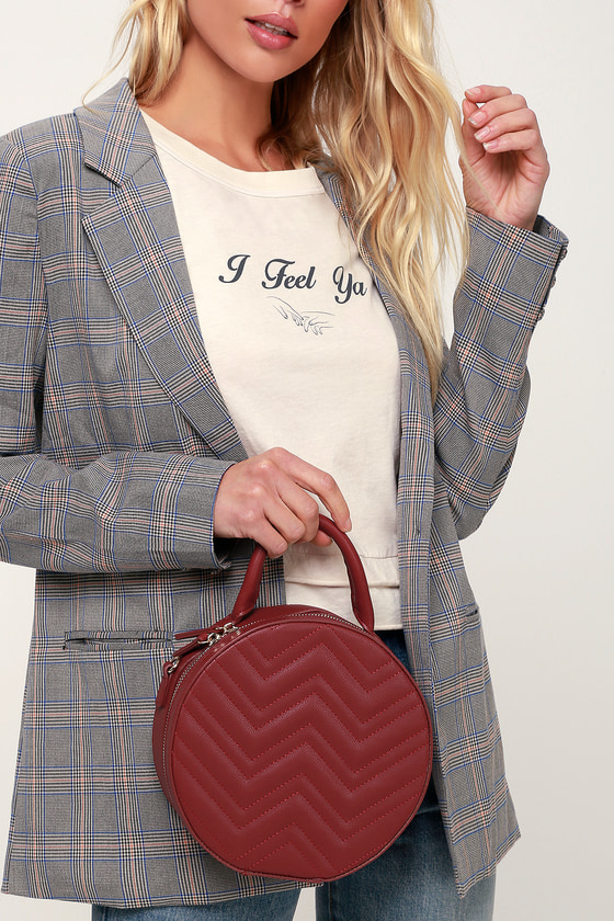 Vintage & Retro Handbags, Purses, Wallets, Bags Hillcrest Burgundy Quilted Circle Purse - Lulus $66.00 AT vintagedancer.com