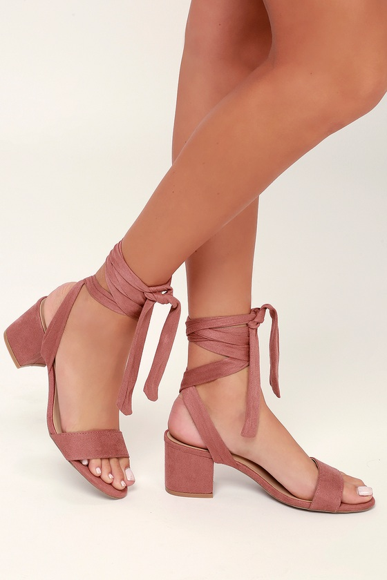 7d2ffc07abd Trinidad Dusty Rose Suede Lace-Up Heels