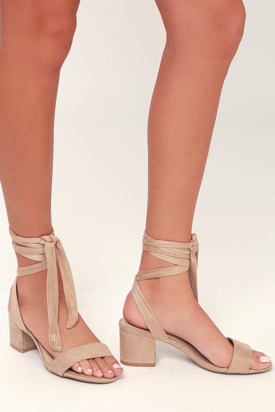 Taupe Heels - Vegan Suede Heels - Lace