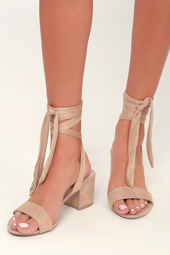 24ec269094d Trinidad Taupe Lace-Up Heels