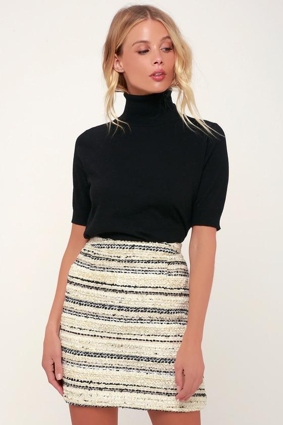 edbafd141e9ee Chic Ivory Skirt - Mini Skirt - Tweed Striped Skirt - A-Line Mini