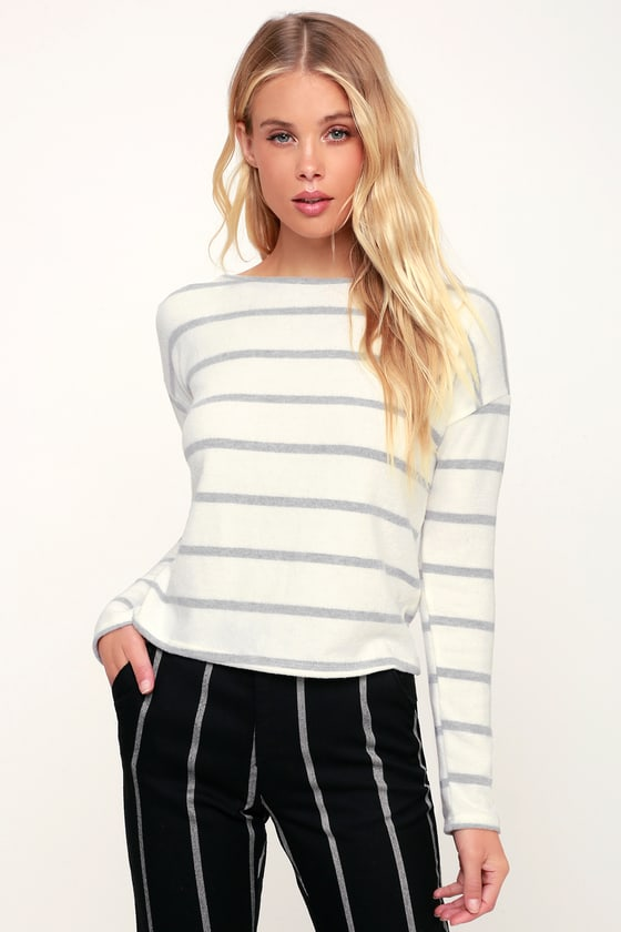 Stormi Ivory Striped Long Sleeve Sweater Top