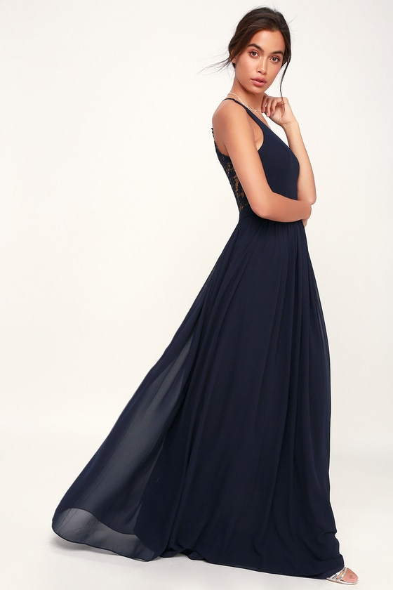 bdc97aa0c5 Stunning Lace-Back Maxi Dress - Navy Blue Dress - Maxi Dress