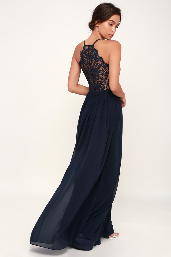 Love Spell Navy Blue Lace Back Maxi Dress