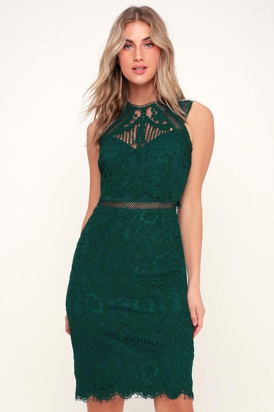 0fc82043928a85 Lovely Lace Dress - Forest Green Dress - Green Midi Dress