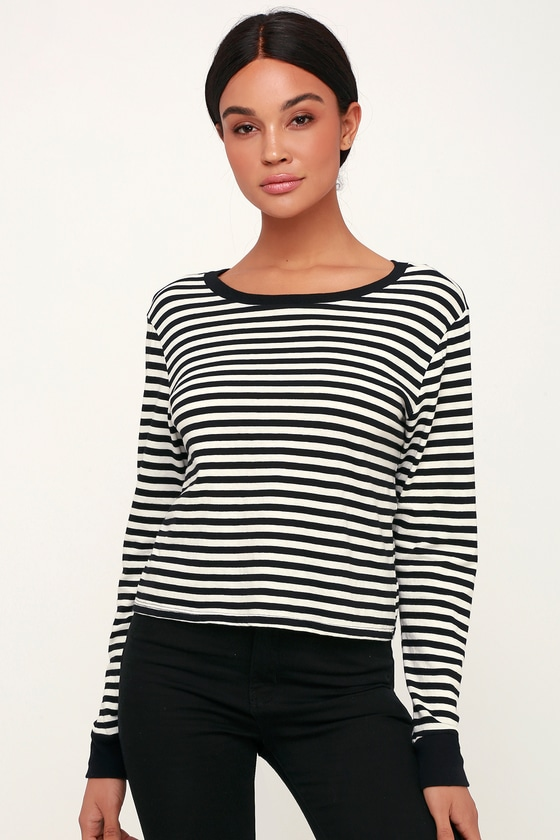0dad40da45c Amuse Society Honey Stripe - Black and White Striped Top - Tee