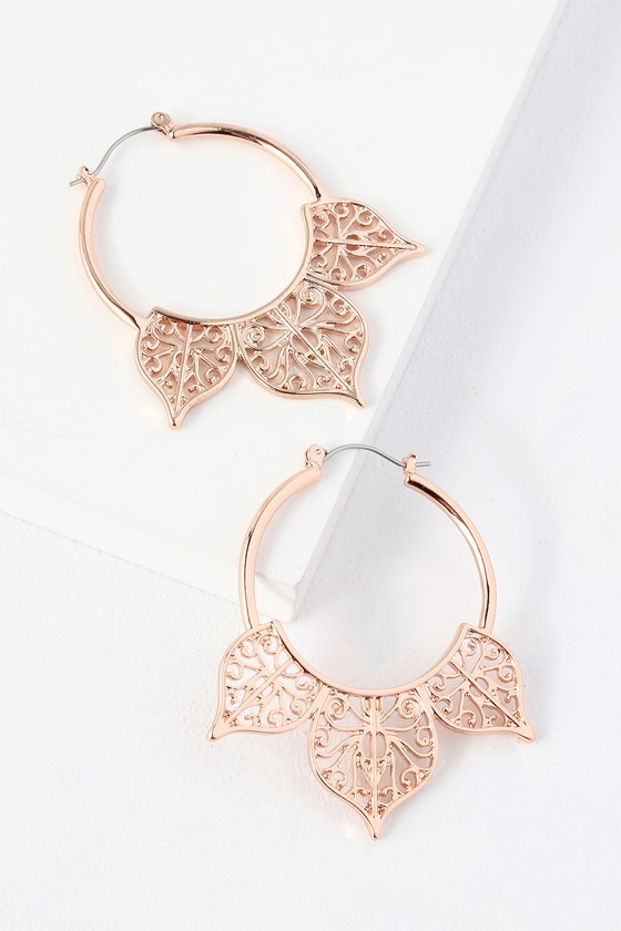 Lelabelle Rose Gold Hoop Earrings - Lulus
