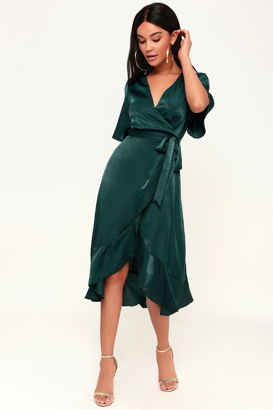 26612c1f639 Dark Green Dress - Satin Dress - Satin Wrap Dress - Midi Dress
