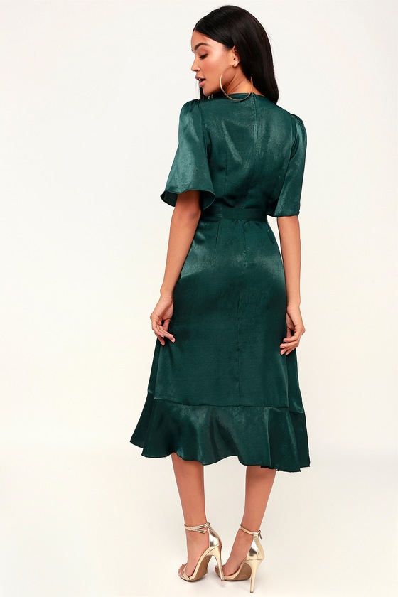 f23f6df3e3f6 Dark Green Dress - Satin Dress - Satin Wrap Dress - Midi Dress