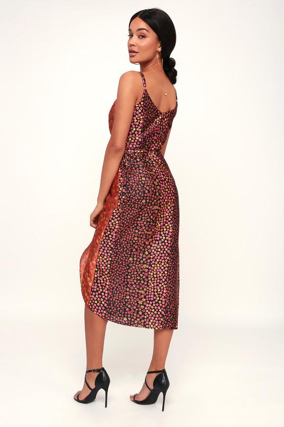 a7cf38e2e0a Cute Floral Print Dress - Black Multi Floral Dress - Wrap Dress