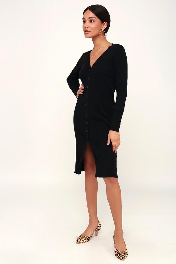20ca7a381c91 Cute Black Midi Dress - Knit Sweater Dress - Midi Cardigan Dress