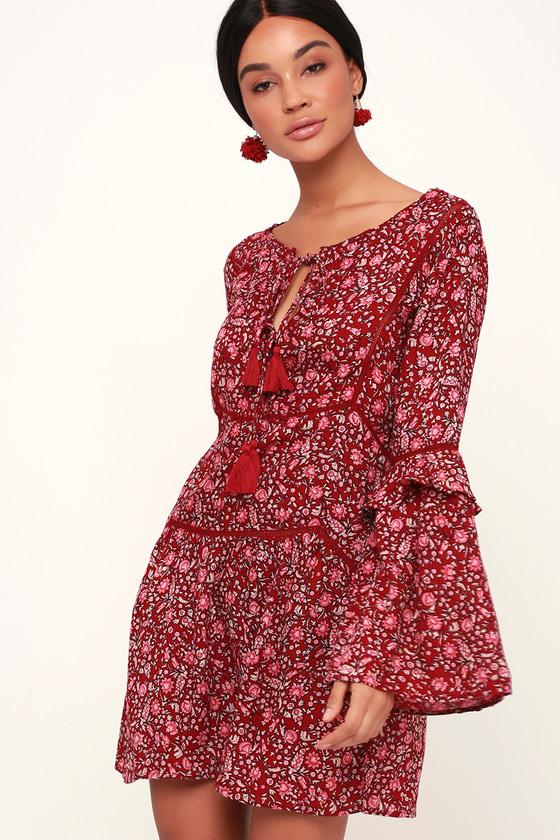 33d03e38230 Amuse Society La Palma - Cute Red Dress - Floral Print Dress
