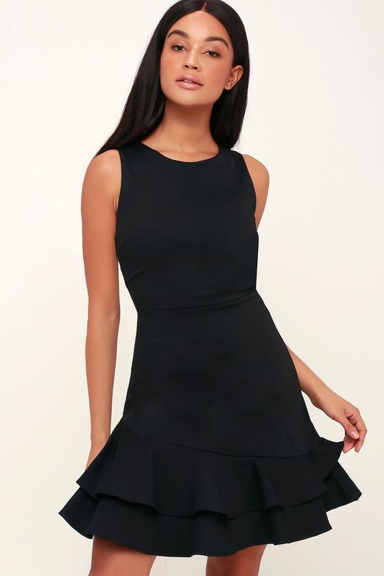 5c2cf8fa940 Cute Black Dress - Black Ruffled Dress - Black Party Dress