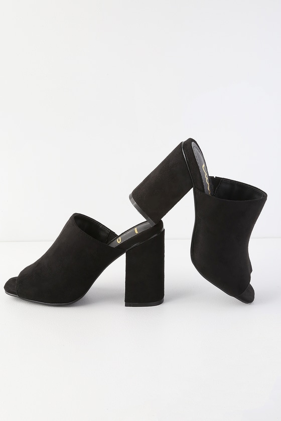 Cute Mules - Peep-Toe Mules - Black