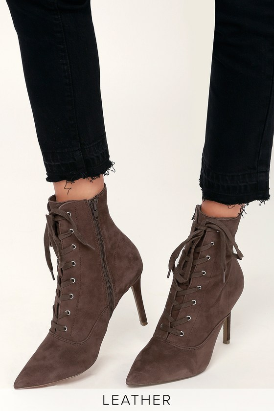 56167063836 Jinx Taupe Suede Leather Lace-Up High Heel Booties
