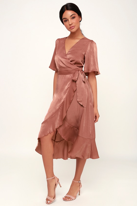 Wrapped Up In Love Mauve Satin Faux-Wrap Midi Dress