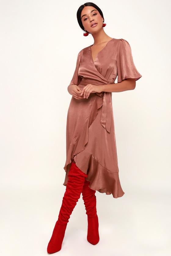 b44a32ca5f5 Chic Mauve Dress - Satin Dress - Satin Wrap Dress - Midi Dress