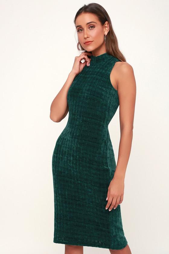 5c9dad1ba056 Cute Green Dress - Chenille Sweater Dress - Mock Neck Dress