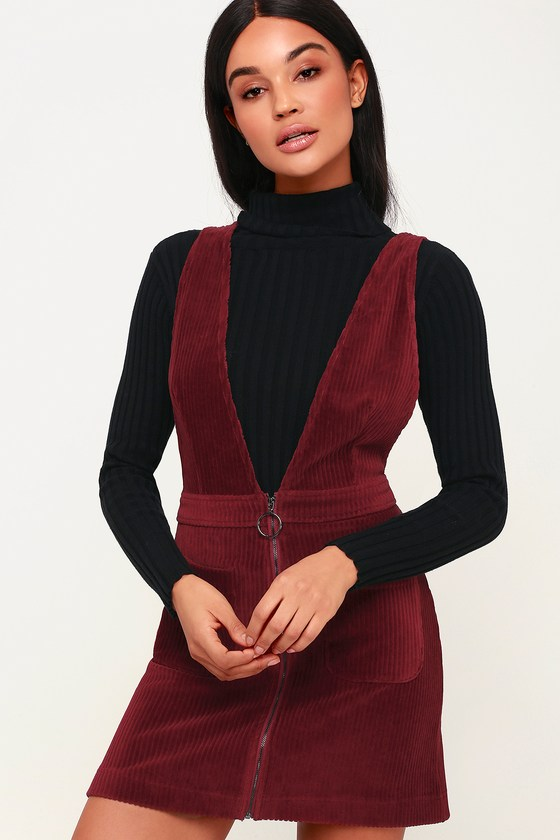 60s Skirts | 70s Hippie Skirts, Jumper Dresses Cut to the Chase Burgundy Corduroy Pinafore Dress - Lulus $54.00 AT vintagedancer.com