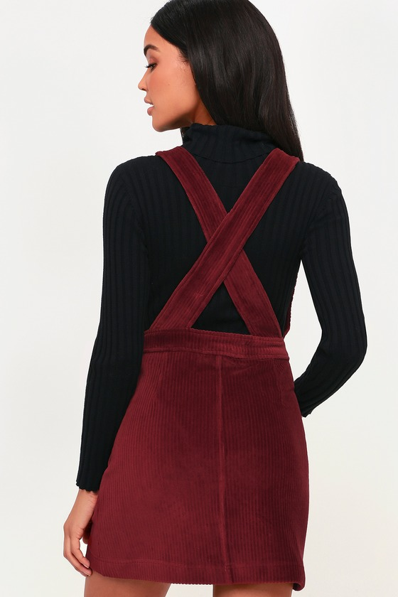 3101a3a2824 Burgundy Corduroy Dress - Corduroy Pinafore Dress - Overall Dress