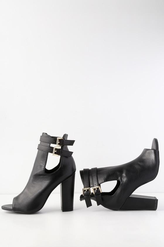 41766552d7b6 Cute Peep-Toe Booties - Black High Heel Boots - Booties