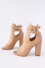 99f88a39472450 Cute Blush Shoes - Peep Toe Heels - Lace-Up Heels -  59.00