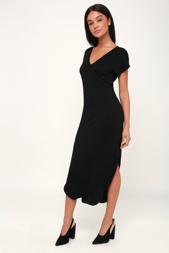 49e1b121b407f5 Cute Black Dress - T-Shirt Dress - Midi Dress - V-Neck Dress