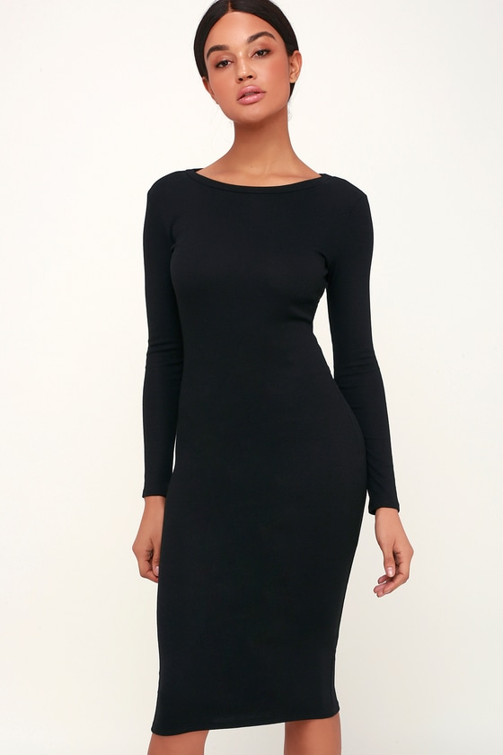 Cute Black Dress - Bodycon Dress - Midi Dress - Ribbed Dress b17453e14