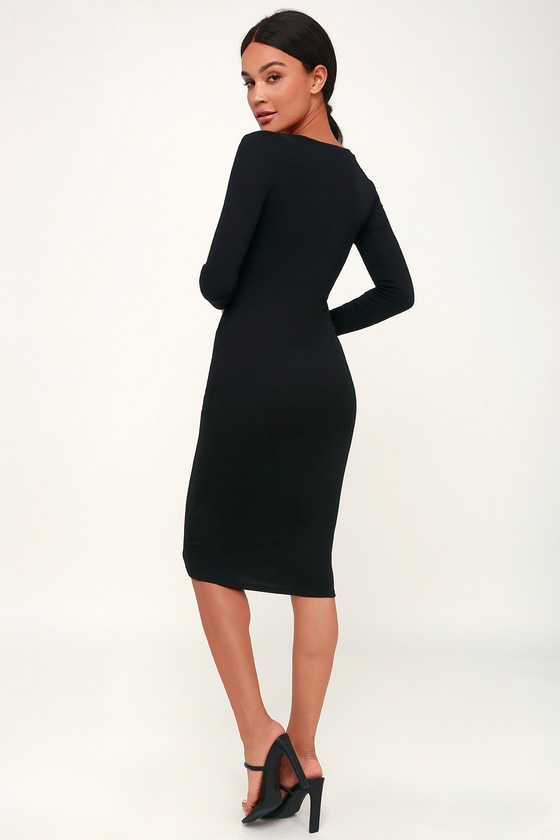 0c3166a4219 Cute Black Dress - Bodycon Dress - Midi Dress - Ribbed Dress