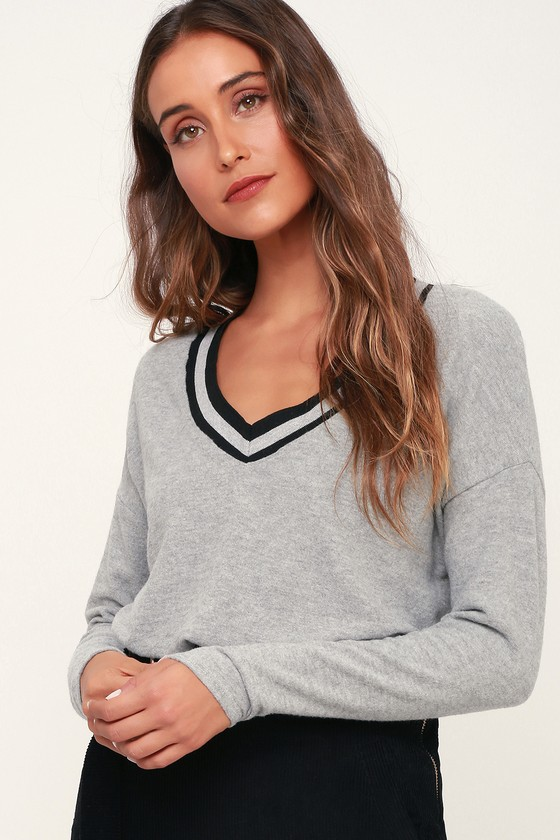 a2851852d Project Social T - Heather Grey Top - Long Sleeve Sweater Top