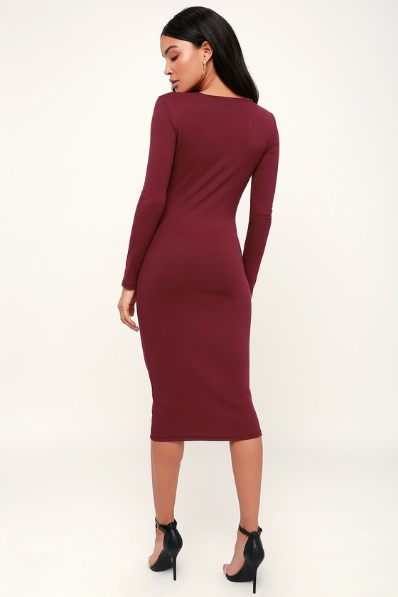 Cute Burgundy Dress - Bodycon Dress - Midi Dress - Ribbed Dress b6662c2b8