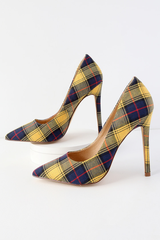 Tallie Yellow Plaid Pointed Toe Pumps by Lulu's