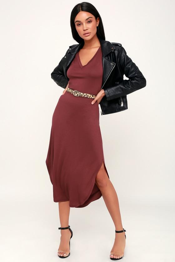 9c47a3baa7f8 Cute Washed Burgundy Dress - T-Shirt Dress - Midi Dress