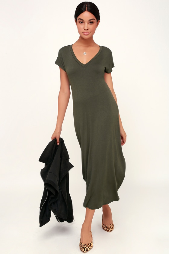 1d39647204 Cute Olive Green Dress - T-Shirt Dress - Green Midi Dress