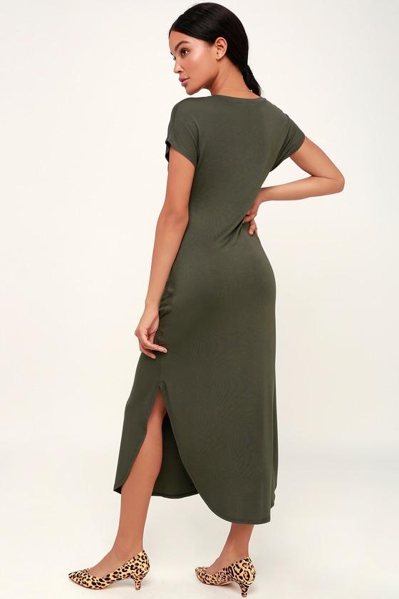olive green t shirt dress