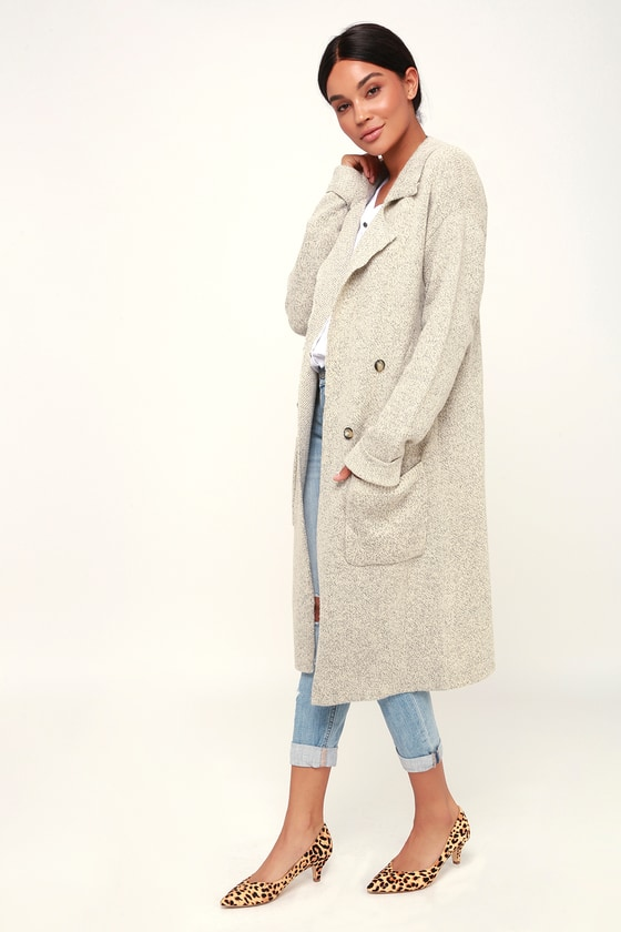 usa cheap sale info for first look Cuddle Club Beige Long Sleeve Sweater Coat