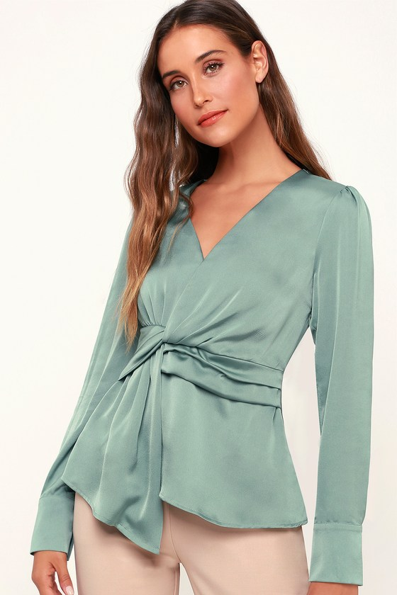 1940s Blouses, Shirts and Tops Fashion History Lucie Sage Green Satin Knotted Front Top - Lulus $24.00 AT vintagedancer.com