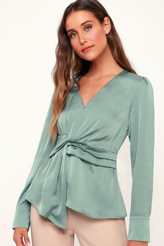 Vintage & Retro Shirts, Halter Tops, Blouses Lucie Sage Green Satin Knotted Front Top - Lulus $24.00 AT vintagedancer.com