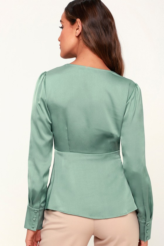 f616c7e74712b8 Chic Green Top - Satin Top - Knotted Front Top - Long Sleeve Top