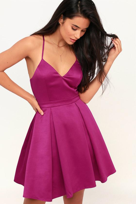 b8e5d671d1a8b1 Cute Magenta Skater Dress - Skater Dress - Homecoming Dress