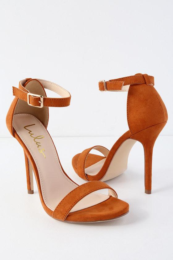 c2a2d084f5a Cute Rust Heels - Single Strap Heels - Vegan Suede Heels