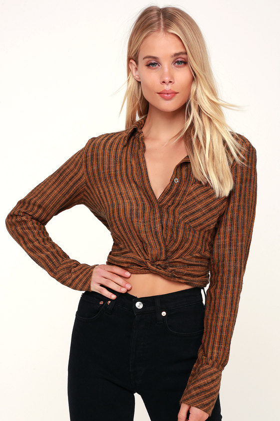 aef11084e69 Free People Lust for Life - Brown Crop Top - Knot Front Top