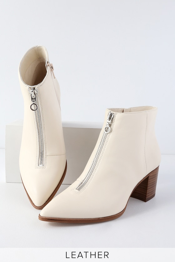 d4c9bc2f47d Sole Society Desiray - Cream Leather Booties - Front Zip Booties