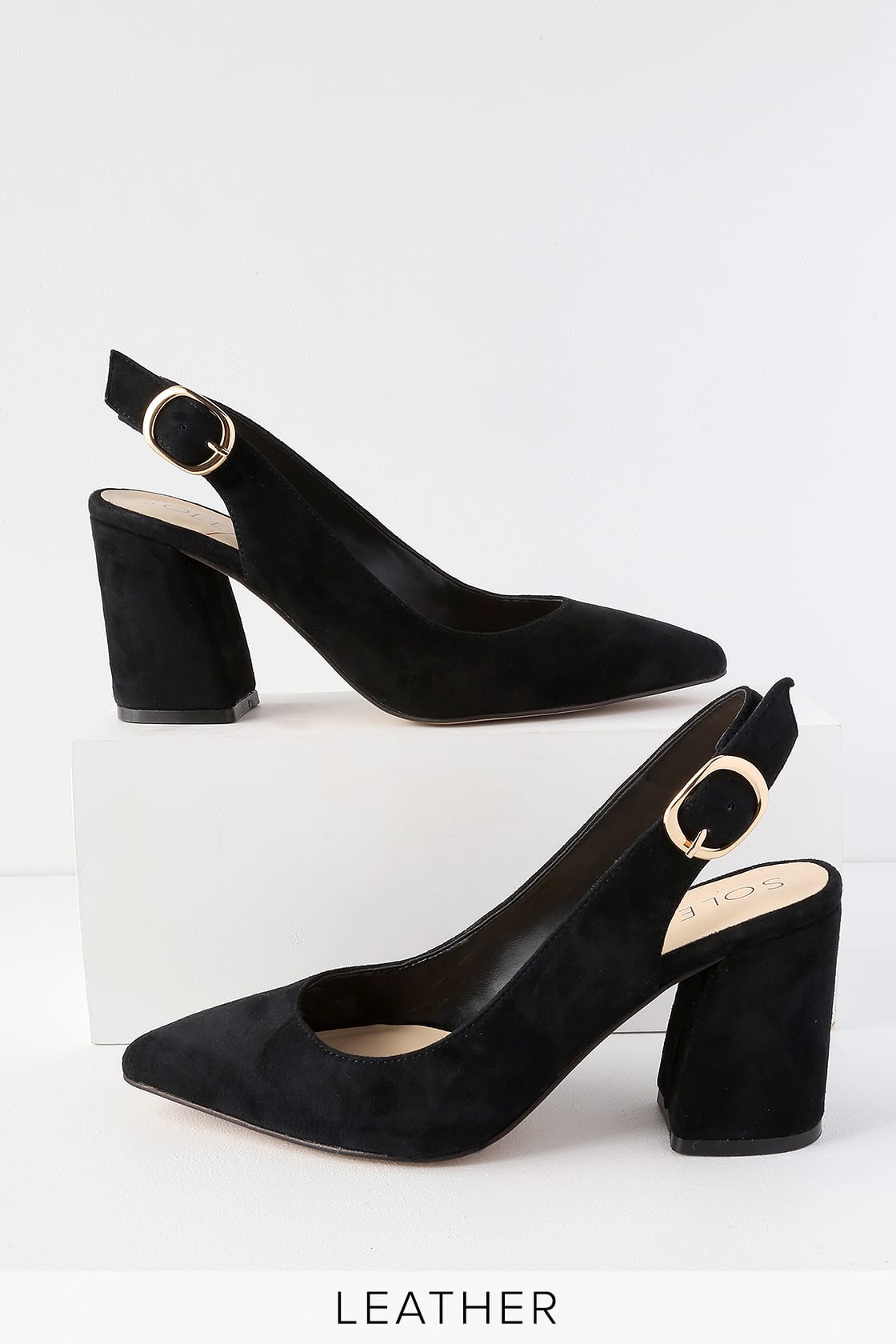 Trudie Black Suede Leather Slingback Pumps by Sole Society