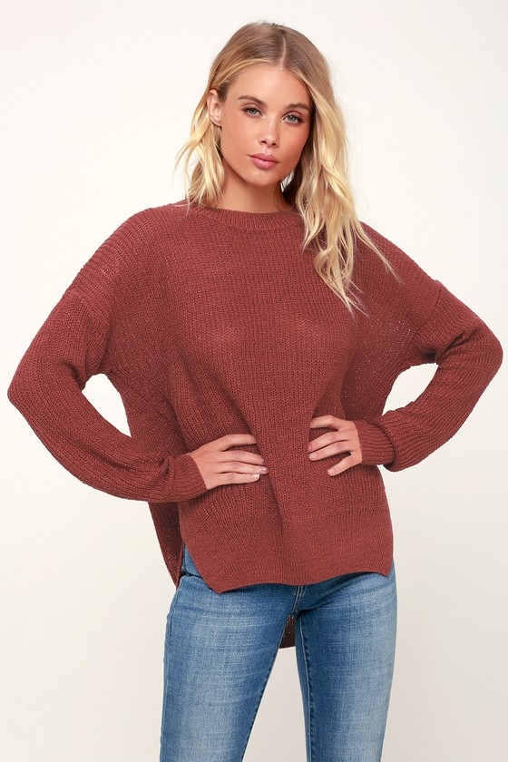 Lulus Exclusive! Our fall fashion prediction is you in the Lulus Exclusive Alyssa Dark Mauve Knit Sweater! This must-have sweater is easy to style and comfy with its lightweight knit composition, ribbed crew neckline, long sleeves (with ribbed cuffs), and a relaxed bodice. Ribbed hemline has twin side slits. Throw this cozy top on with your fave jeans for a cozy, casual look. Fit: This garment fits true to size. Length: Size small measures 24\